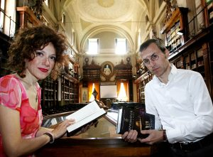 """ROME - MAY 3 : Rita Monaldi and Francesco Sorti, authors of the book """"Inprimature"""" (pegged as the next 'Da Vinci Code') pose at the Archive of State were they found two books with the elements for starting their novel, on May 3, 2008 in  Rome - Italy). (Photo by Franco Origlia/Getty Images FOR THE INDIPENDENT)   *** Local Caption *** Rita Monaldi;Francesco Sorti"""